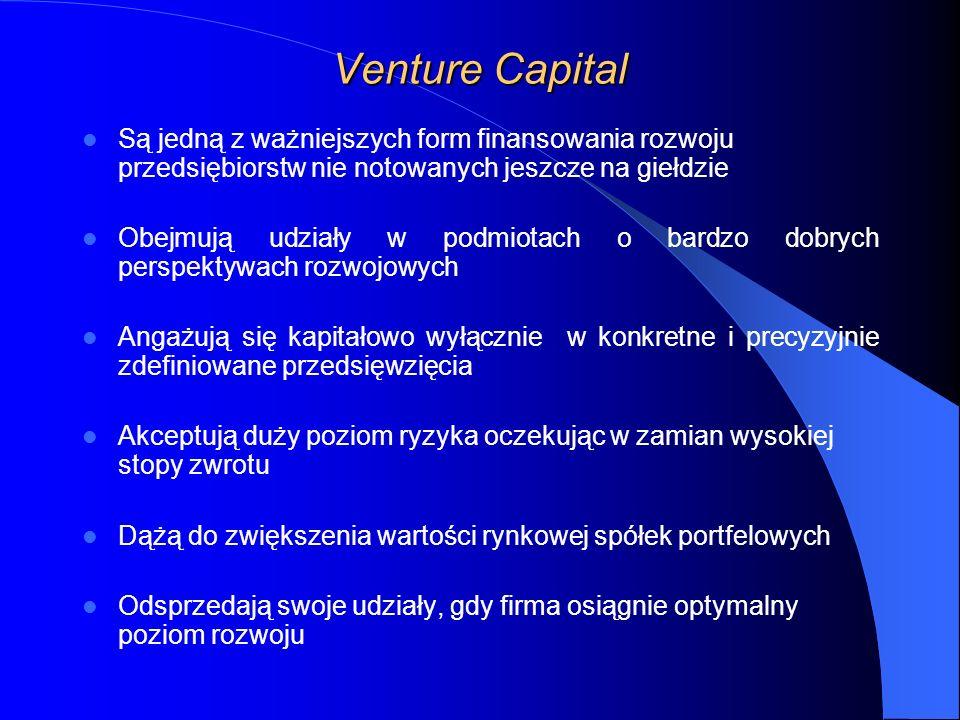 Venture Capital Są jedną z ważniejszych form finansowania rozwoju przedsiębiorstw nie notowanych jeszcze na giełdzie.