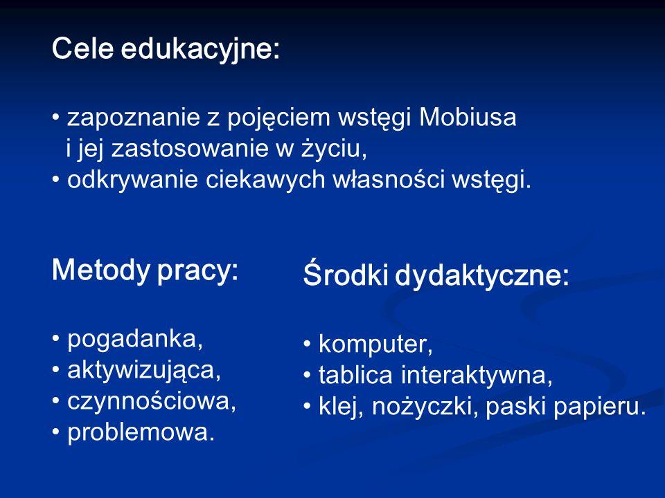 Cele edukacyjne: Metody pracy: Środki dydaktyczne:
