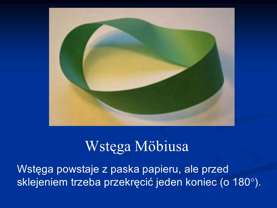 Wstęga Möbiusa Wstęga powstaje z paska papieru, ale przed