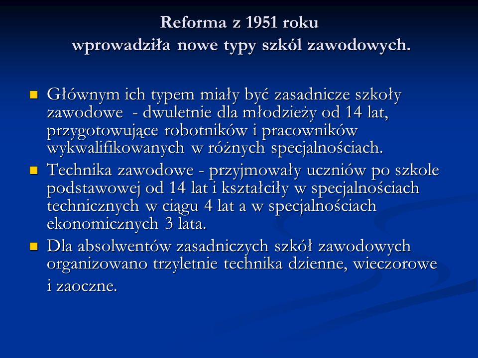 Reforma z 1951 roku wprowadziła nowe typy szkól zawodowych.