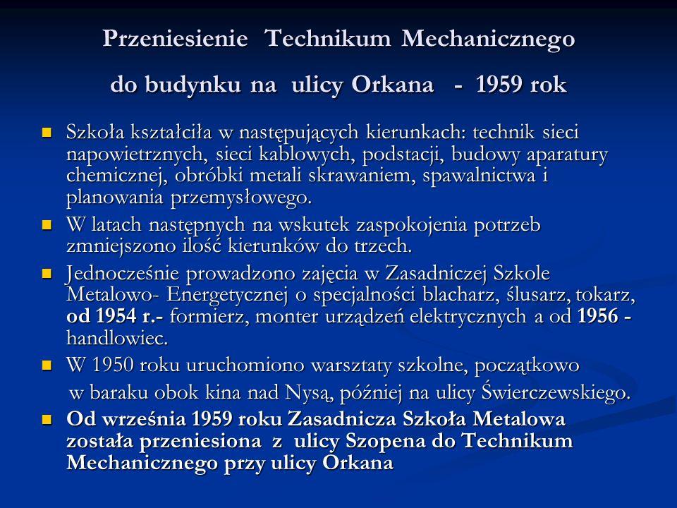 Przeniesienie Technikum Mechanicznego do budynku na ulicy Orkana - 1959 rok