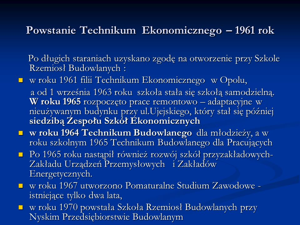 Powstanie Technikum Ekonomicznego – 1961 rok