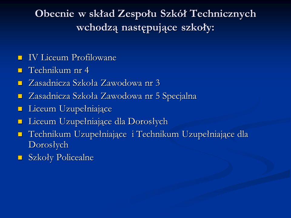 Obecnie w skład Zespołu Szkół Technicznych wchodzą następujące szkoły:
