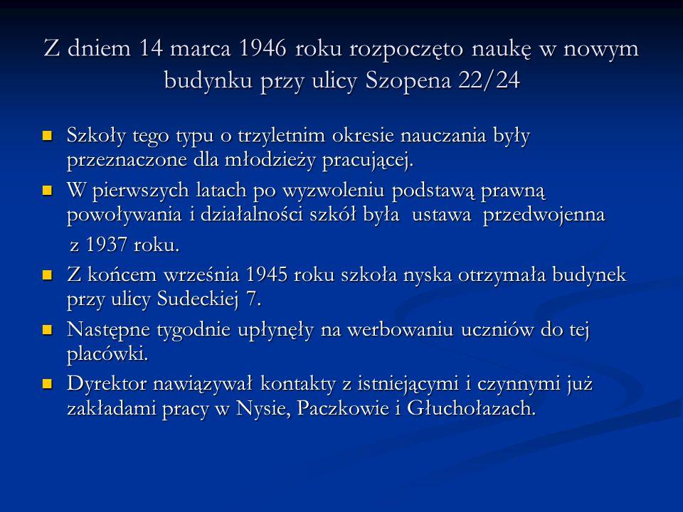Z dniem 14 marca 1946 roku rozpoczęto naukę w nowym budynku przy ulicy Szopena 22/24