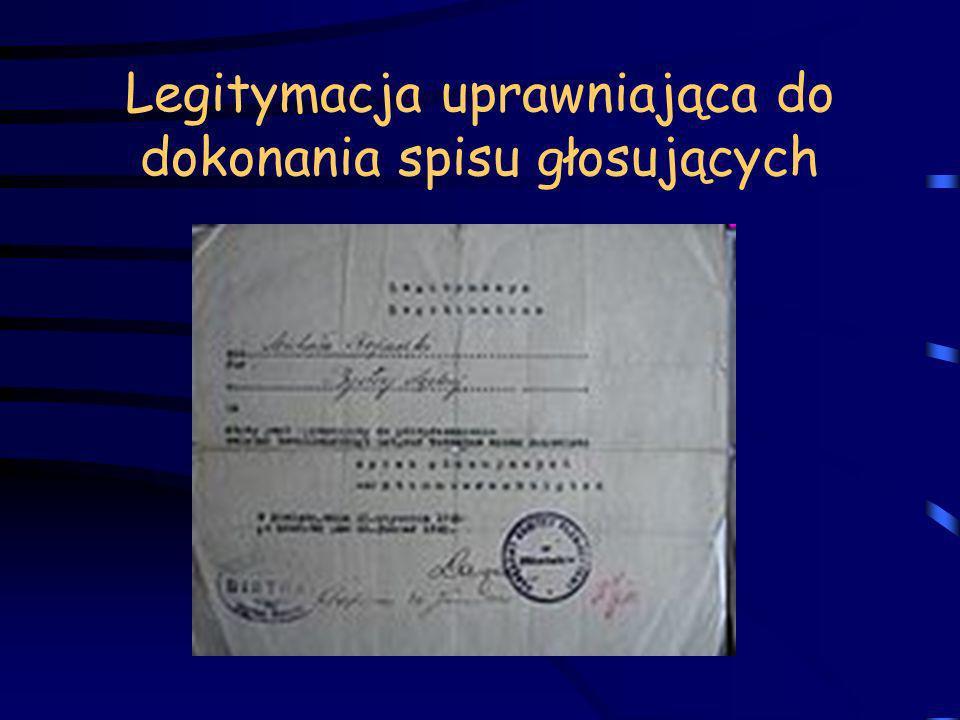 Legitymacja uprawniająca do dokonania spisu głosujących