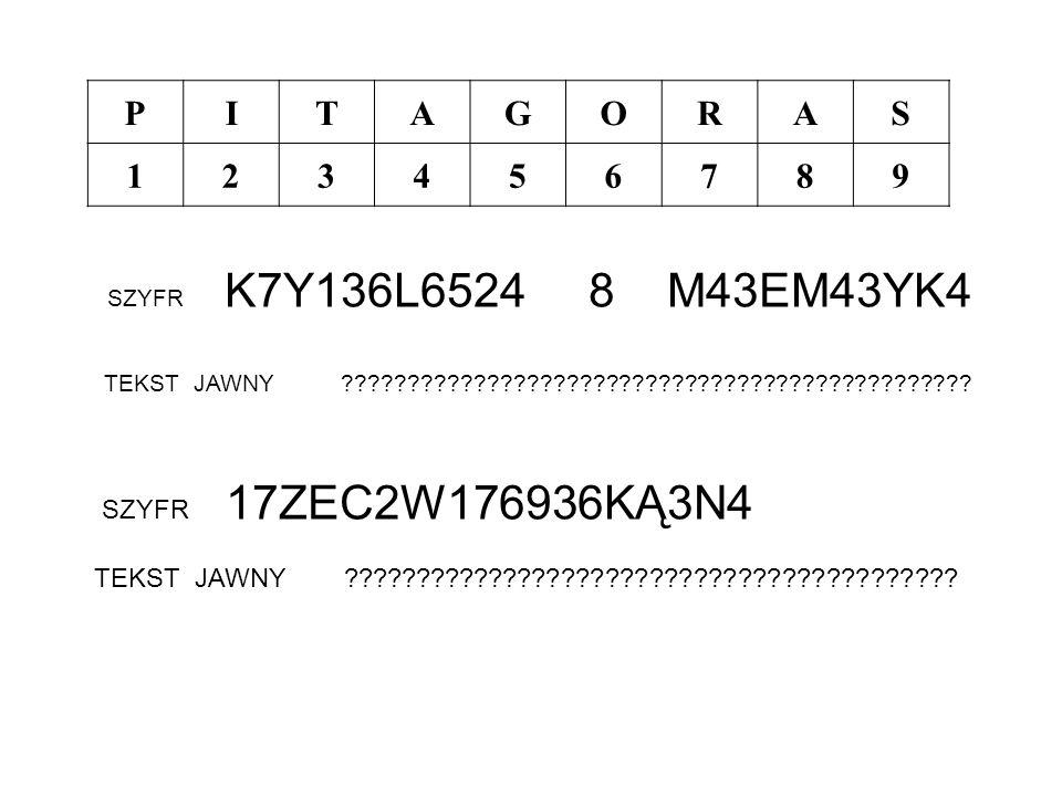 P I. T. A. G. O. R. S. 1. 2. 3. 4. 5. 6. 7. 8. 9. SZYFR K7Y136L6524 8 M43EM43YK4.