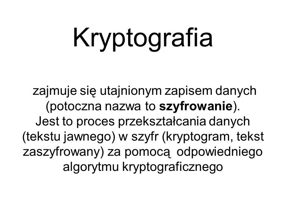Kryptografia zajmuje się utajnionym zapisem danych