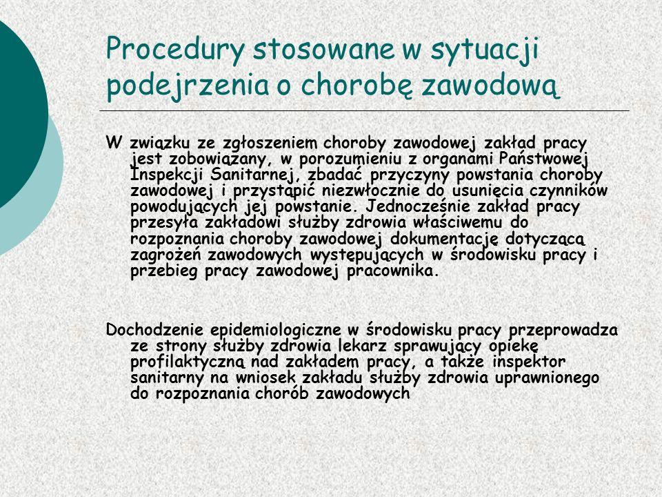 Procedury stosowane w sytuacji podejrzenia o chorobę zawodową
