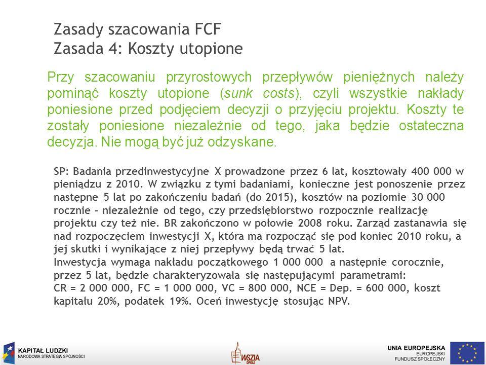 Zasady szacowania FCF Zasada 4: Koszty utopione