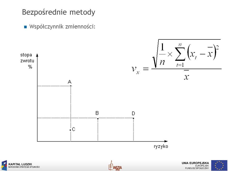 Bezpośrednie metody Współczynnik zmienności: