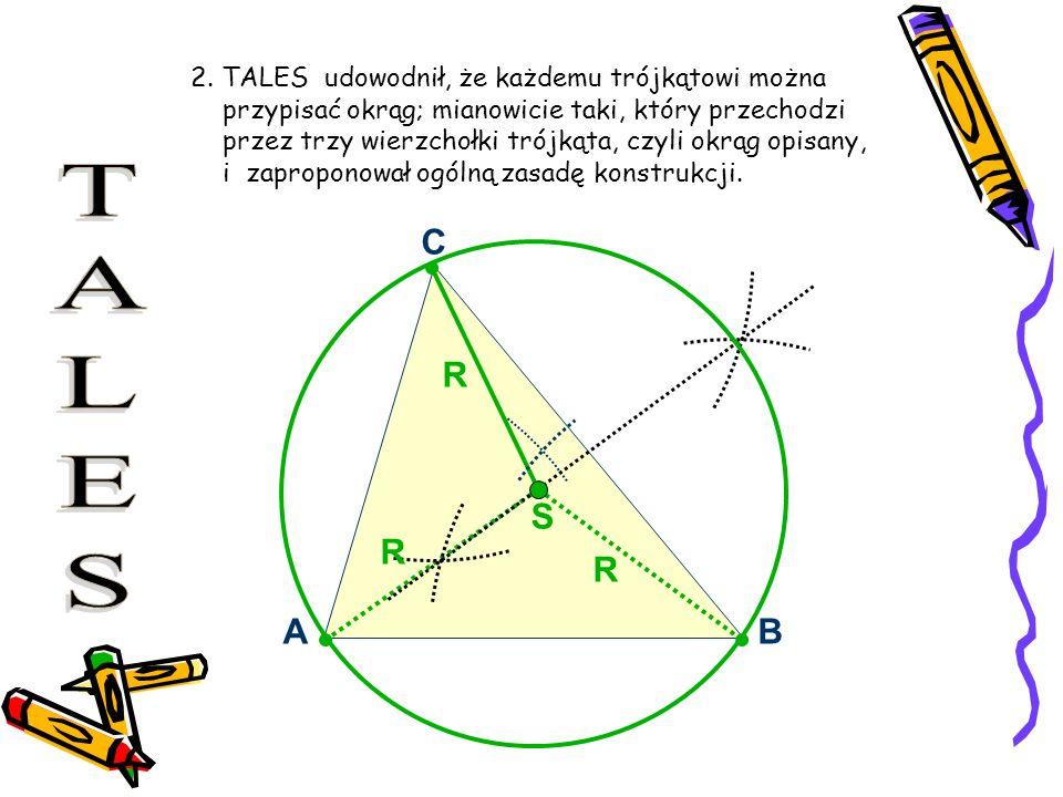 TALES A B C S R 2. TALES udowodnił, że każdemu trójkątowi można