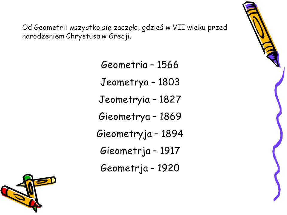 Geometria – 1566 Jeometrya – 1803 Jeometryia – 1827 Gieometrya – 1869