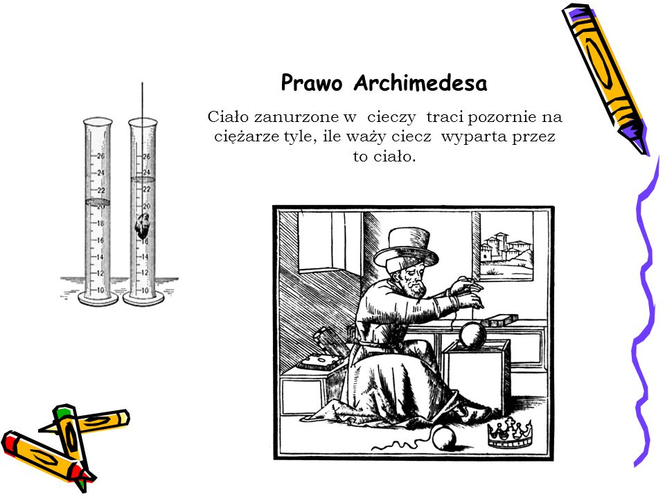 Prawo Archimedesa Ciało zanurzone w cieczy traci pozornie na ciężarze tyle, ile waży ciecz wyparta przez to ciało.