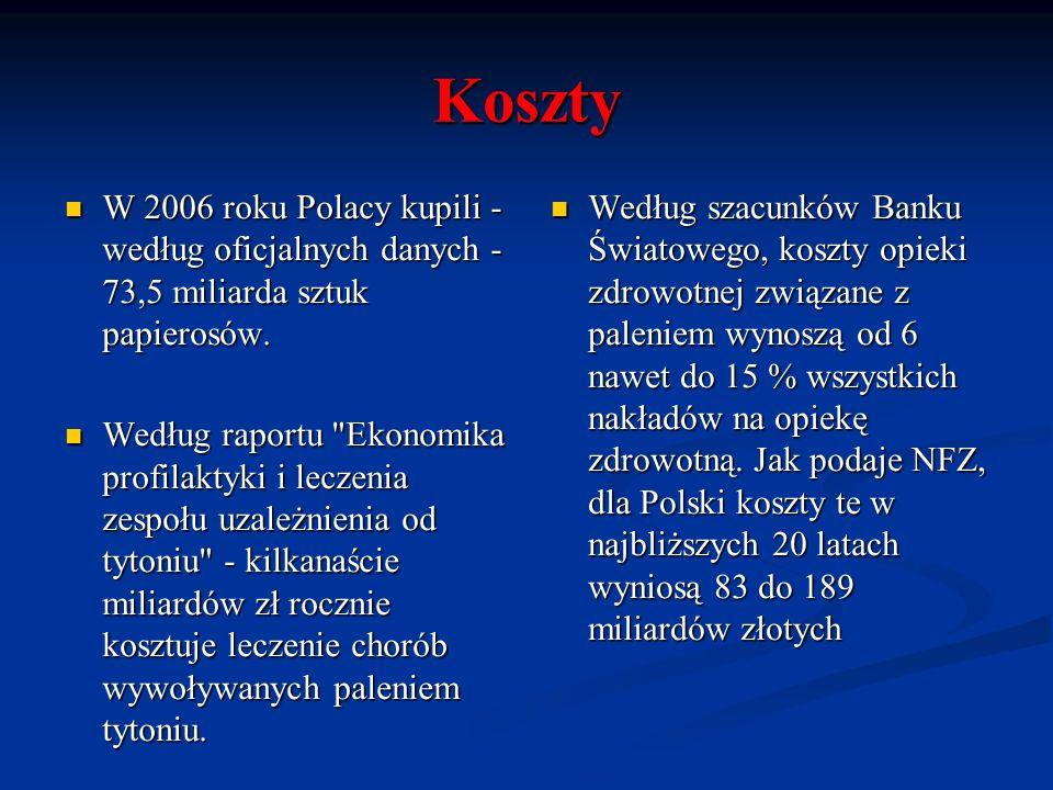 KosztyW 2006 roku Polacy kupili - według oficjalnych danych - 73,5 miliarda sztuk papierosów.