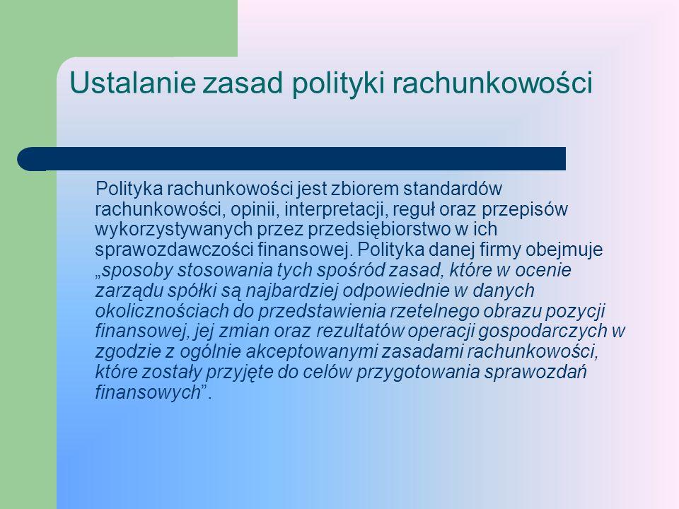 Ustalanie zasad polityki rachunkowości