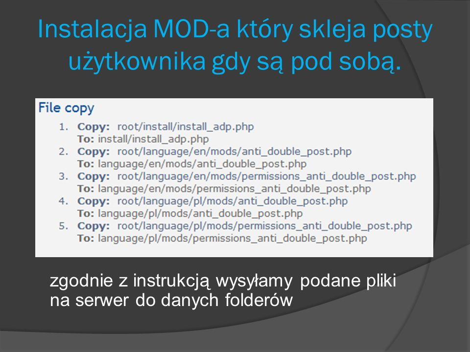 Instalacja MOD-a który skleja posty użytkownika gdy są pod sobą.