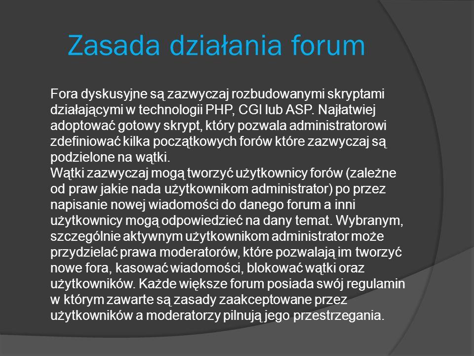 Zasada działania forum