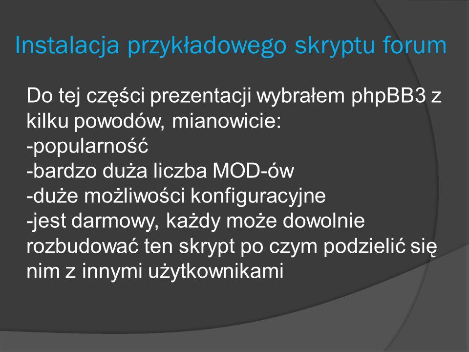 Instalacja przykładowego skryptu forum