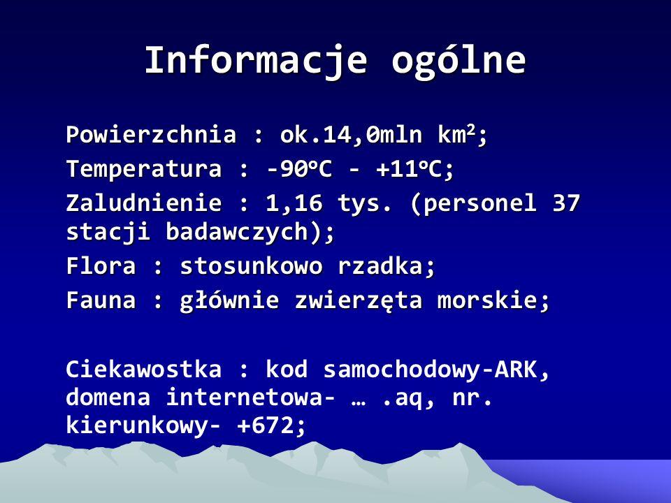 Informacje ogólne Powierzchnia : ok.14,0mln km2;
