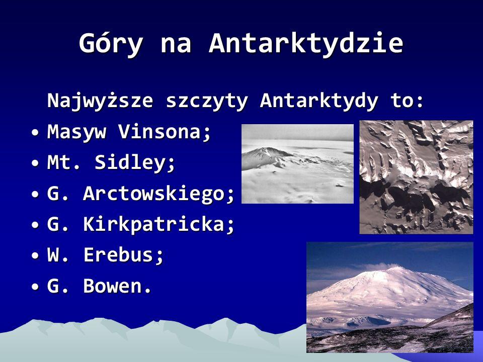 Góry na Antarktydzie Najwyższe szczyty Antarktydy to: Masyw Vinsona;