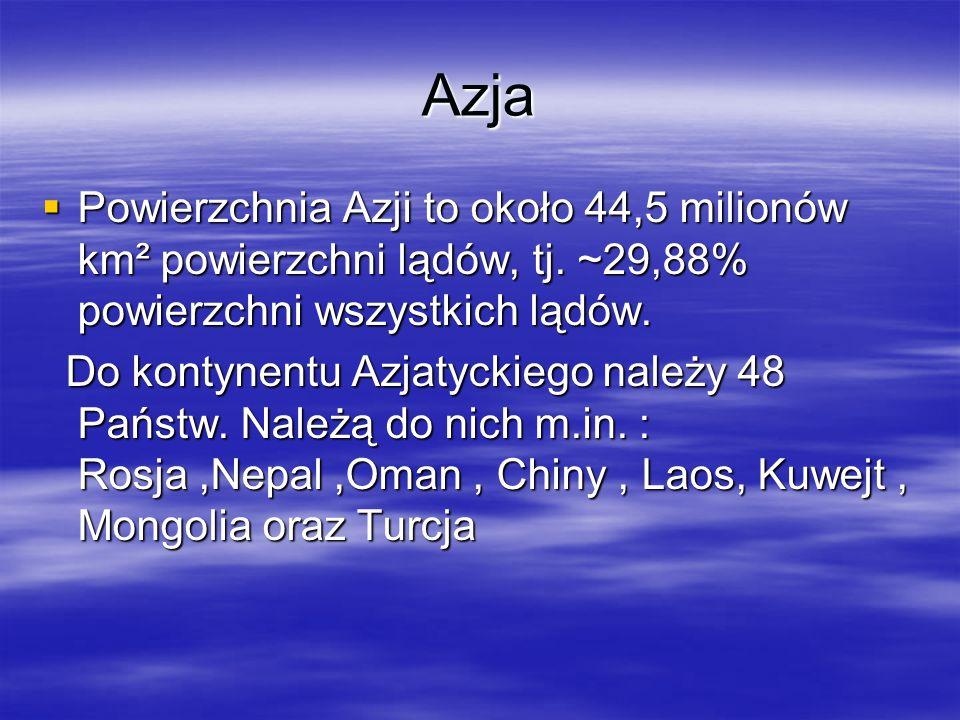 Azja Powierzchnia Azji to około 44,5 milionów km² powierzchni lądów, tj. ~29,88% powierzchni wszystkich lądów.
