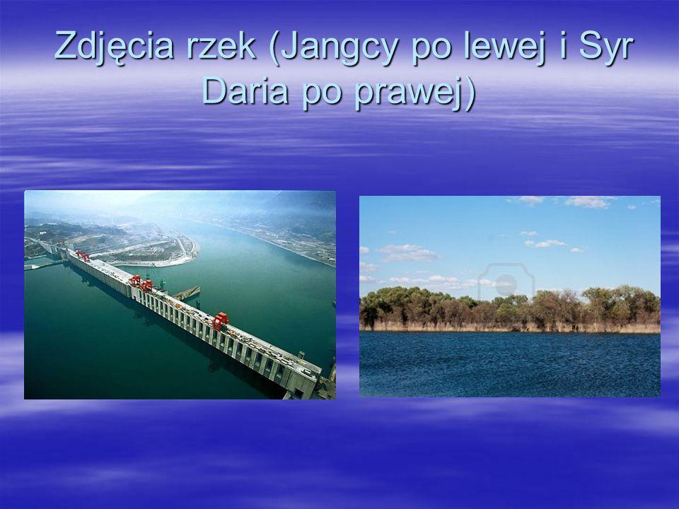 Zdjęcia rzek (Jangcy po lewej i Syr Daria po prawej)