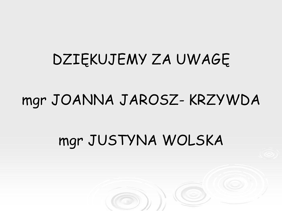 mgr JOANNA JAROSZ- KRZYWDA