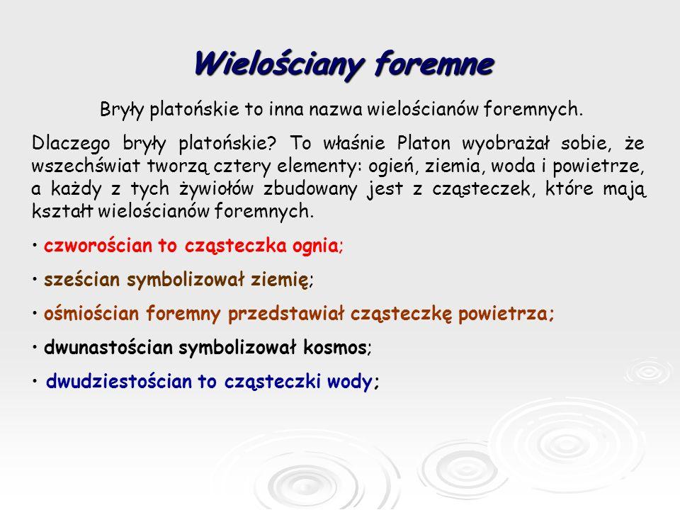 Wielościany foremne Bryły platońskie to inna nazwa wielościanów foremnych.