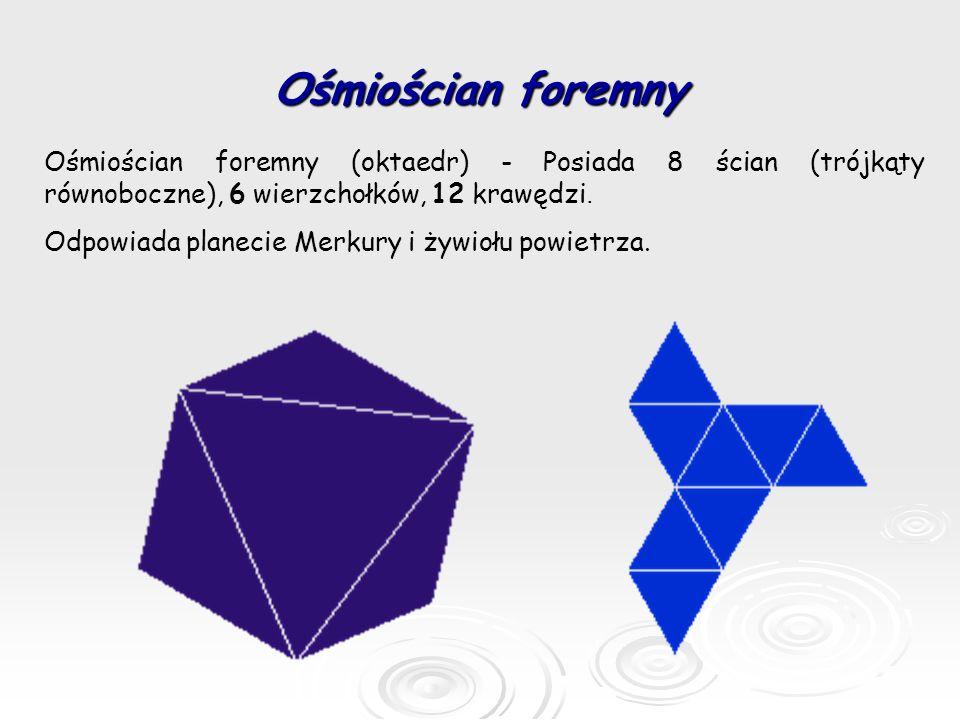 Ośmiościan foremny Ośmiościan foremny (oktaedr) - Posiada 8 ścian (trójkąty równoboczne), 6 wierzchołków, 12 krawędzi.