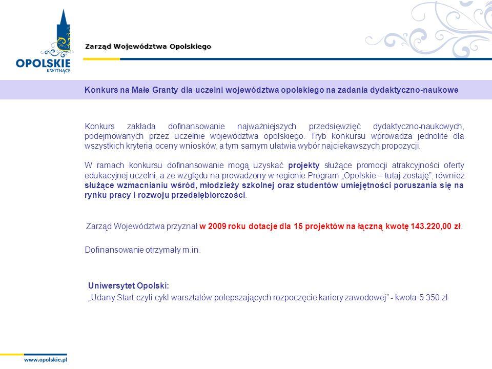 Konkurs na Małe Granty dla uczelni województwa opolskiego na zadania dydaktyczno-naukowe