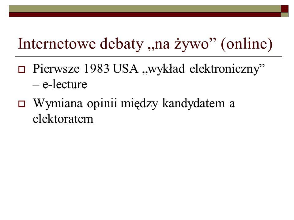 """Internetowe debaty """"na żywo (online)"""