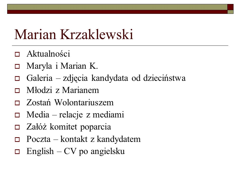 Marian Krzaklewski Aktualności Maryla i Marian K.