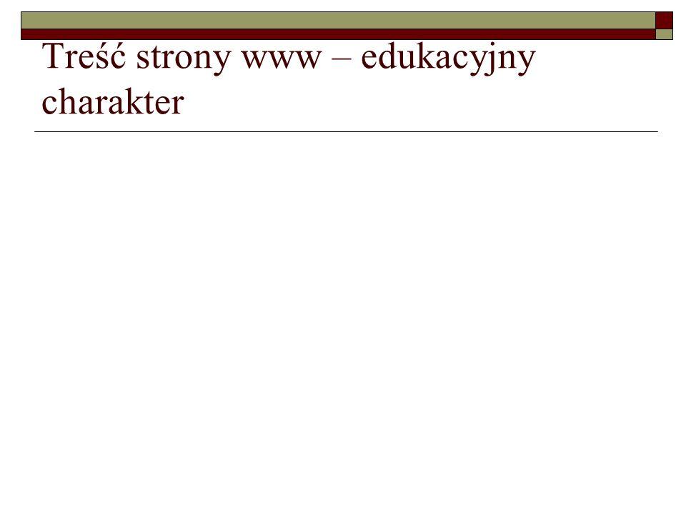 Treść strony www – edukacyjny charakter
