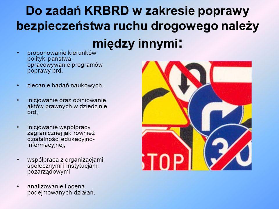 Do zadań KRBRD w zakresie poprawy bezpieczeństwa ruchu drogowego należy między innymi: