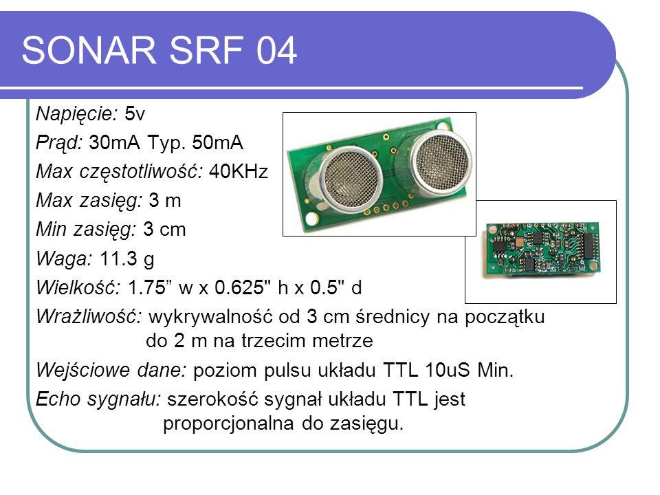 SONAR SRF 04 Napięcie: 5v Prąd: 30mA Typ. 50mA