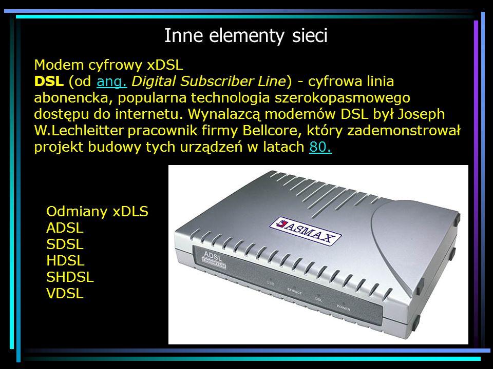 Inne elementy sieci Modem cyfrowy xDSL