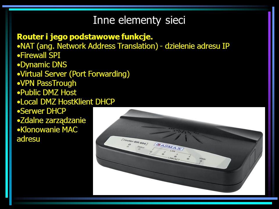 Inne elementy sieci Router i jego podstawowe funkcje.