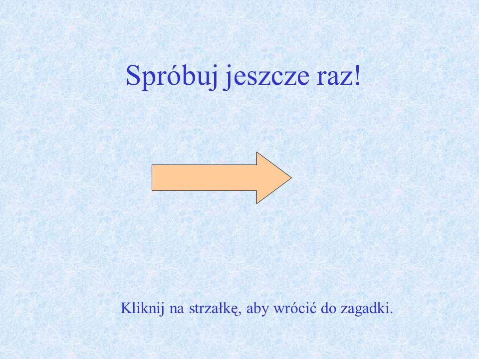 Spróbuj jeszcze raz! Kliknij na strzałkę, aby wrócić do zagadki.