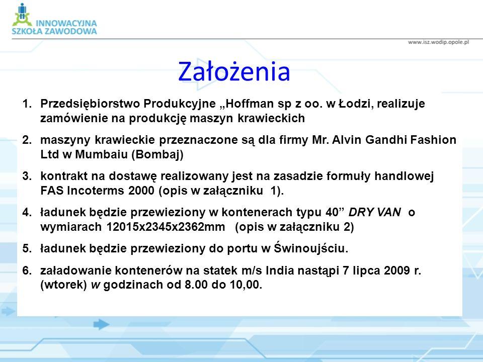 """Założenia Przedsiębiorstwo Produkcyjne """"Hoffman sp z oo. w Łodzi, realizuje zamówienie na produkcję maszyn krawieckich."""