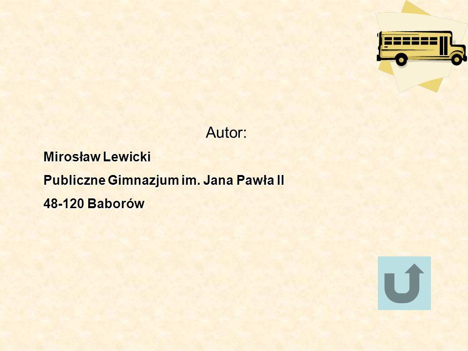 Autor: Mirosław Lewicki Publiczne Gimnazjum im. Jana Pawła II