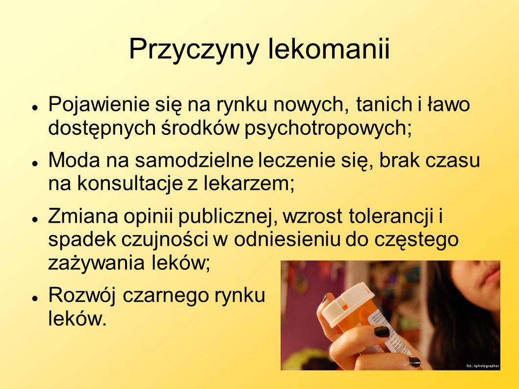 Przyczyny lekomanii Pojawienie się na rynku nowych, tanich i ławo dostępnych środków psychotropowych;