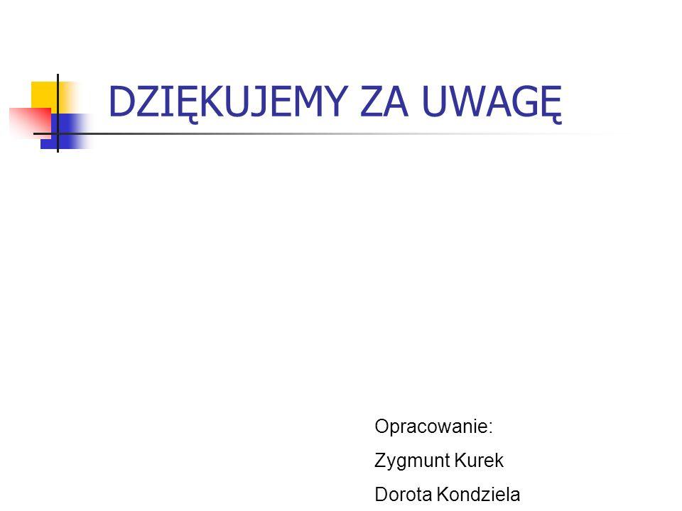 DZIĘKUJEMY ZA UWAGĘ Opracowanie: Zygmunt Kurek Dorota Kondziela