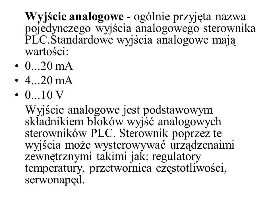 Wyjście analogowe - ogólnie przyjęta nazwa pojedynczego wyjścia analogowego sterownika PLC.Standardowe wyjścia analogowe mają wartości:
