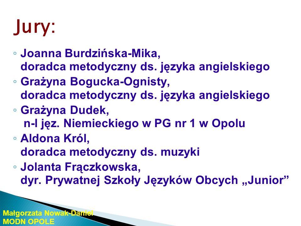 Jury: Joanna Burdzińska-Mika, doradca metodyczny ds. języka angielskiego. Grażyna Bogucka-Ognisty, doradca metodyczny ds. języka angielskiego.