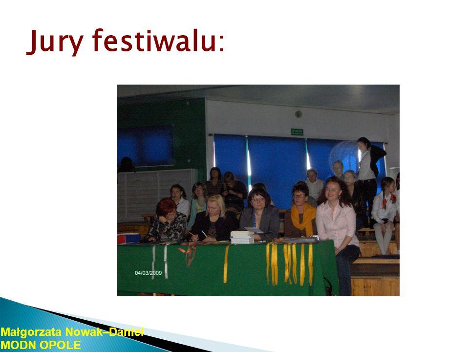Jury festiwalu: Małgorzata Nowak–Daniel MODN OPOLE