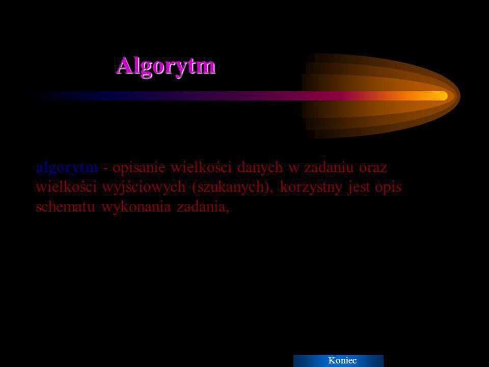 Algorytm algorytm - opisanie wielkości danych w zadaniu oraz wielkości wyjściowych (szukanych), korzystny jest opis schematu wykonania zadania,