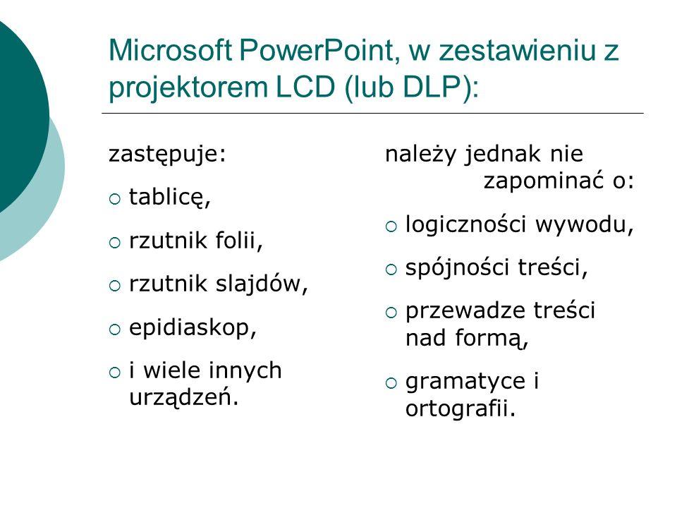 Microsoft PowerPoint, w zestawieniu z projektorem LCD (lub DLP):