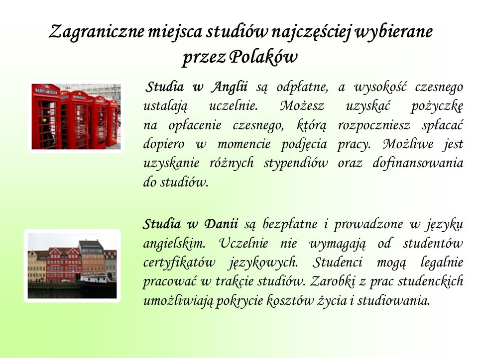 Zagraniczne miejsca studiów najczęściej wybierane przez Polaków