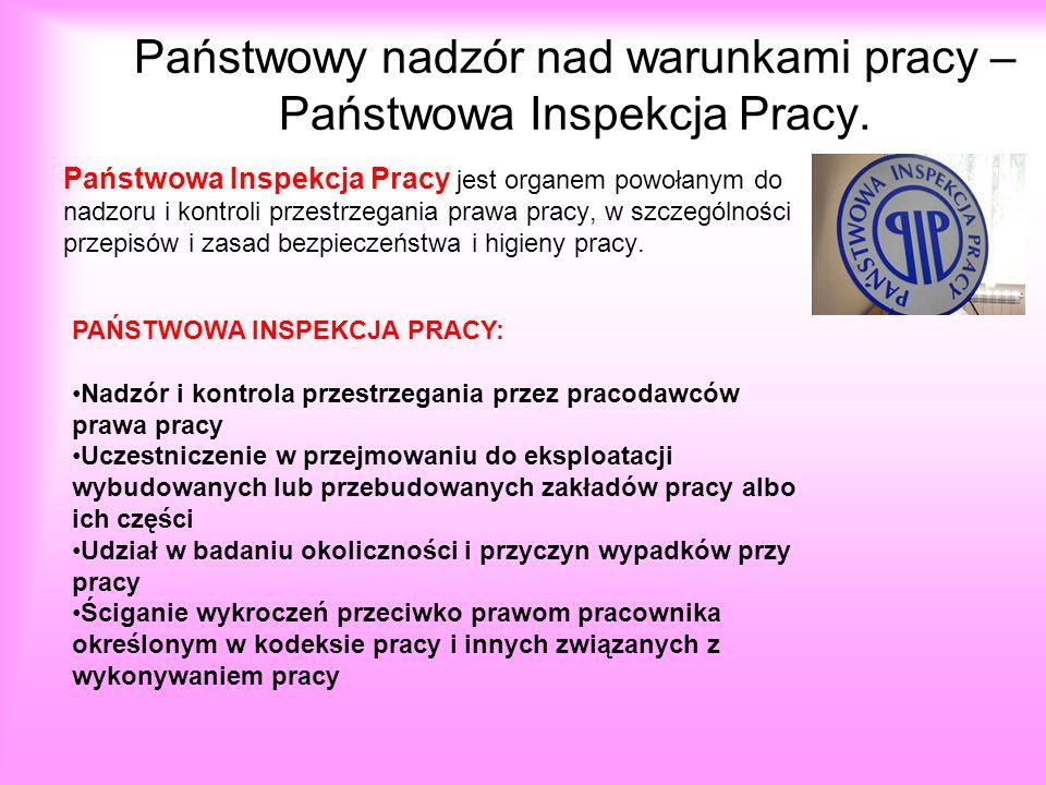Państwowy nadzór nad warunkami pracy – Państwowa Inspekcja Pracy.