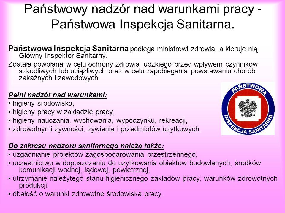 Państwowy nadzór nad warunkami pracy - Państwowa Inspekcja Sanitarna.